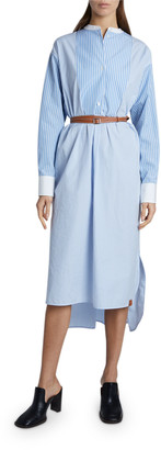 Loewe Striped Cotton Shirtdress with Leather Belt