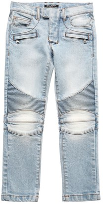 Balmain Stretch Cotton Denim Biker Jeans