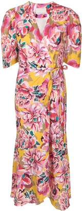 Ginger & Smart Flourish linen wrap dress
