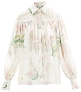 Aje Impact Floral-print Linen Blouse - White Print