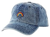 Charlotte Russe Rainbow Patch Denim Baseball Hat