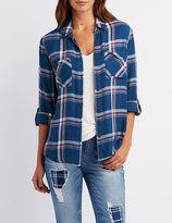 Charlotte Russe Flyaway Plaid Button-Up Shirt