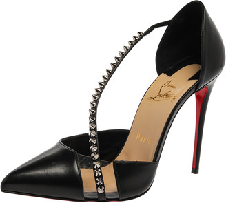 Christian Louboutin Black Leather And Pvc Spike Cross Pointed Toe Pumps Size 38.5