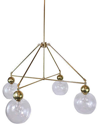 The Light Factory Quad-Globe Chandelier - Clear/Raw Brass