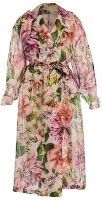 Dolce & Gabbana Organza Floral-Print Trench Coat