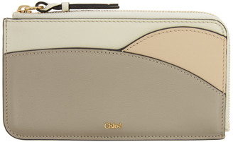 Chloé Grey and Taupe Walden Zip Card Holder