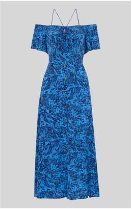 Whistles Bardot Snake Print Silk Dress
