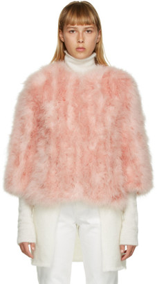 Yves Salomon Pink Feather Cropped Jacket