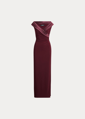 Ralph Lauren Satin-Trim Jersey Gown
