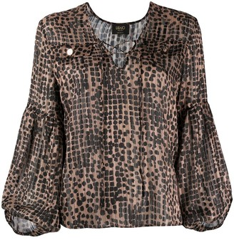 Liu Jo Animal-Print Tie-Neck Blouse