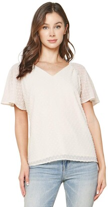 Sugar Lips Sugarlips Women's Dearly Loved Swiss Dot Flutter Sleeve Top