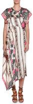 Etro Pepper Printed Asymmetric-Hem Dress, Pink/White
