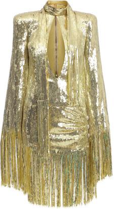 Balmain Fringed Sequined Mini Dress