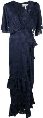 Saloni Bias Ruffle-Wrap Dress
