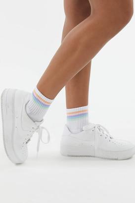 Rainbow Striped Quarter Sock