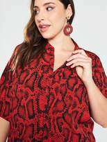 AX Paris Curve Animal Print Shirt Dress - Red