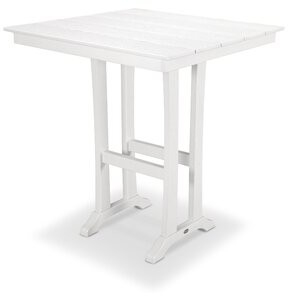 """Polywood Bar Table Color: White, Table Size: 37.5"""" W x 37.63"""" L x 42"""" H"""