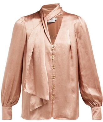 Aje Astrid Neck Scarf Hammered-silk Blouse - Womens - Camel