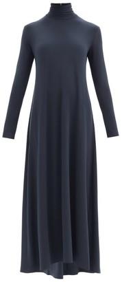 Norma Kamali Swing Roll-neck Flared Longline Jersey Dress - Dark Blue