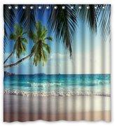"Innovation Beach Blue Ocean Sea Palm Tree Shower Curtain Mildew Waterproof Polyester Fabric Bathroom Shower Curtain Size 66"" x 72"" Inch"