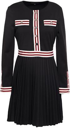 Maje Rouli Grosgrain-trimmed Pleated Ponte Mini Dress