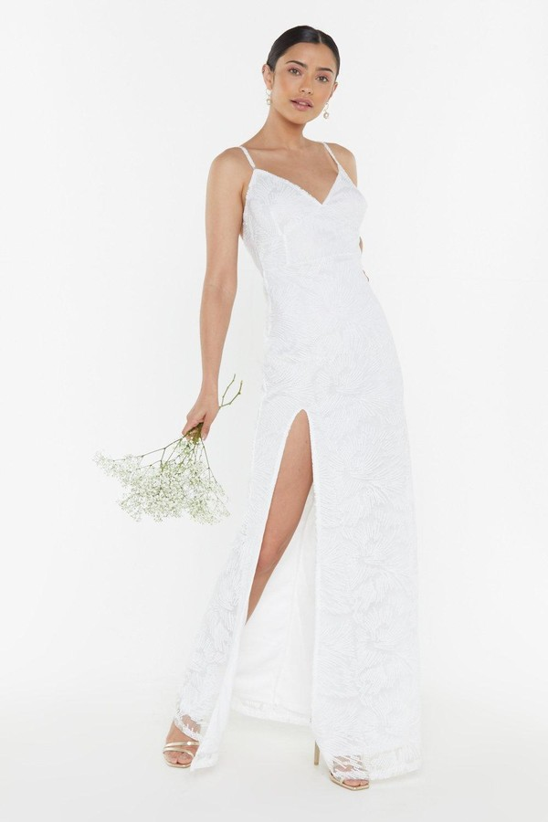 Nasty Gal Womens If It Wern'T For You Organza Slit Maxi Bridal Dress - White - 8