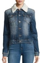 True Religion Western Dusty Faux Shearling Collar Denim Jacket