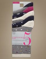 Marks and Spencer 5 Pair Pack Ankle High Socks with Silver Technology