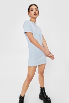 Nasty Gal Womens Petite Ribbed T-Shirt Mini Dress - Black - 4