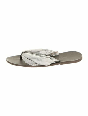 Balmain Printed Leather Trim Embellishment Flip Flops Grey