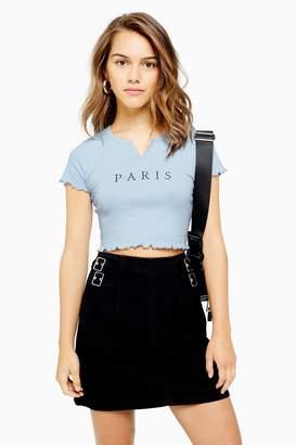 Topshop Womens Petite Paris Notch Lettuce T-Shirt - Blue