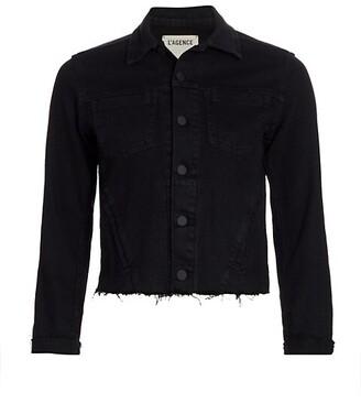L'Agence Janelle Slim-Fit Raw-Hem Denim Jacket