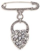 Lulu Frost 'Nina' glass crystal heart safety pin brooch