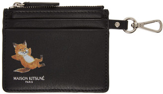 MAISON KITSUNÉ Black Chillax Fox Zipped Card Holder