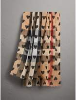 Burberry Heart and Check Modal and Cashmere Scarf, Brown