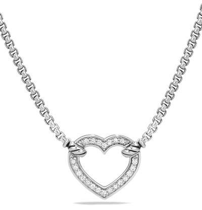 David Yurman Valentine Hearts Diamond Station Necklace