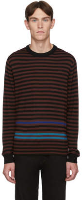 Paul Smith Black and Burgundy Merino Stripe Sweater