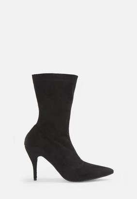 Missguided Black Faux Suede Mid Heel Boots