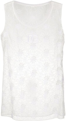 Dolce & Gabbana Floral Embroidered Sheer Sleeveless Top