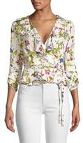Milly Floral Ruffle Wrap Blouse