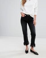 Miss Selfridge Tassel Hem Cropped Jeans