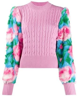 Giuseppe di Morabito Contrast-Panel Cable Knit Sweater