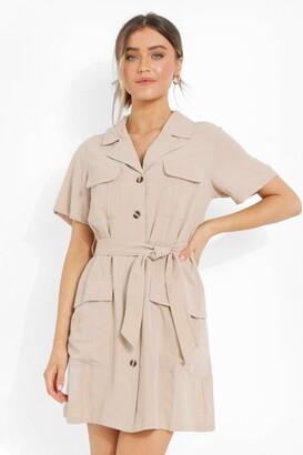 boohoo Button Through Belted Shirt Dress