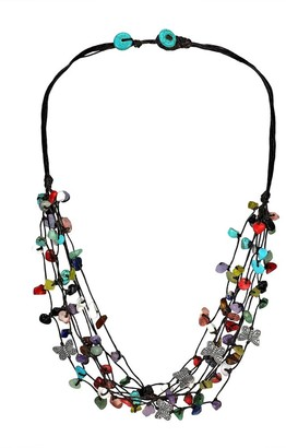 Aeravida Handmade Pewter Butterfly Multicolored Stone Cluster Strands Necklace