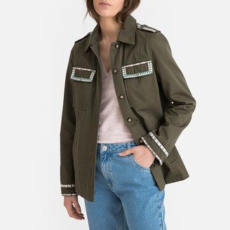 Vero Moda Cotton Utility Jacket with Embroidered Pockets