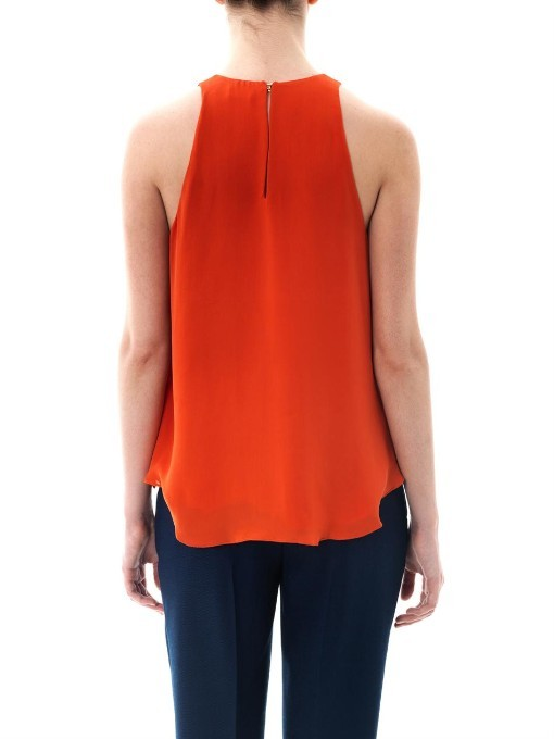 L'Agence Shirred neckline sleeveless blouse