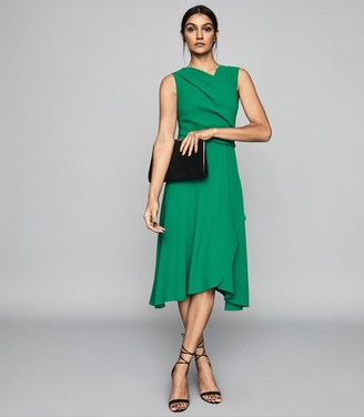 Reiss MARLING WRAP FRONT MIDI DRESS Green