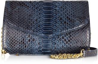 Ghibli Midnight Blue Python Leather Medium Shoulder Bag w/Crystals