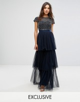 Maya Cape Sleeve Tiered Maxi Dress In Tonal Delicate Sequin With Bow Back