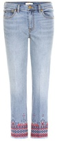 Tory Burch Myers embroidered cropped jeans